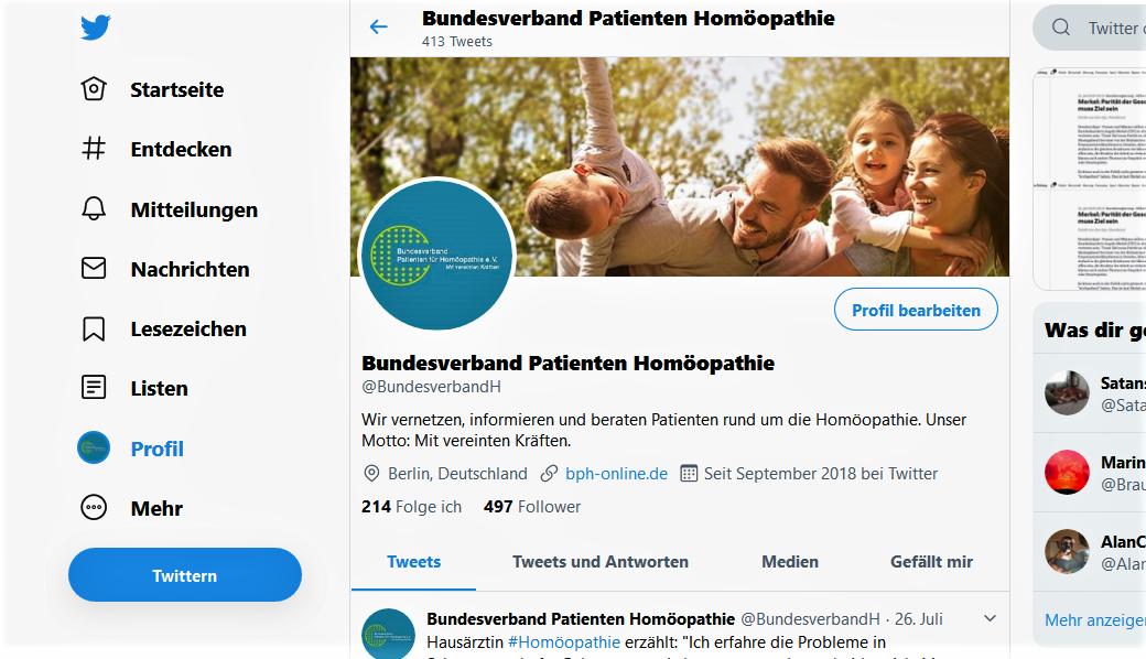 Twitter Bundesverband Patienten Homöopathie
